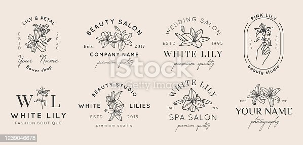 Set of Feminine badges with Lily flowers in simple minimal linear style. Vector floral emblem and icon for Beauty Salon, SPA, Wedding Boutiques, Photographers, fashion store, flower shop