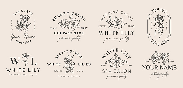 Set of Feminine badges with Lily flowers in simple minimal linear style. Vector floral emblem and icon