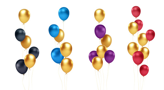 Set of festive bouquets of gold, blue, red, black and purple balloons isolated on white background. Vector illustration EPS10