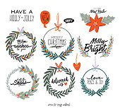 Set of festive fir wreath. Traditional Winter holiday flat vector illustration. Cute Christmas greeting card with happy new year typography. Isolated.