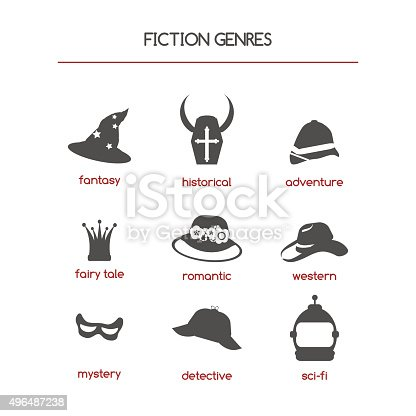 Set of fiction genre icons. Features fantasy, historical, romantic fiction, adventure, detective story, fairy tale, western, mystery and science fiction.