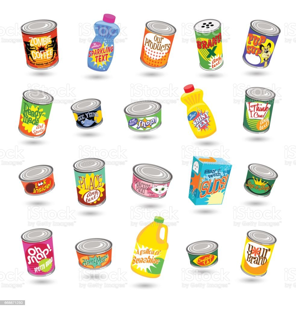 set of fictitious canned goods and cleaning products. Vector illustrated set of various groceries. vector art illustration