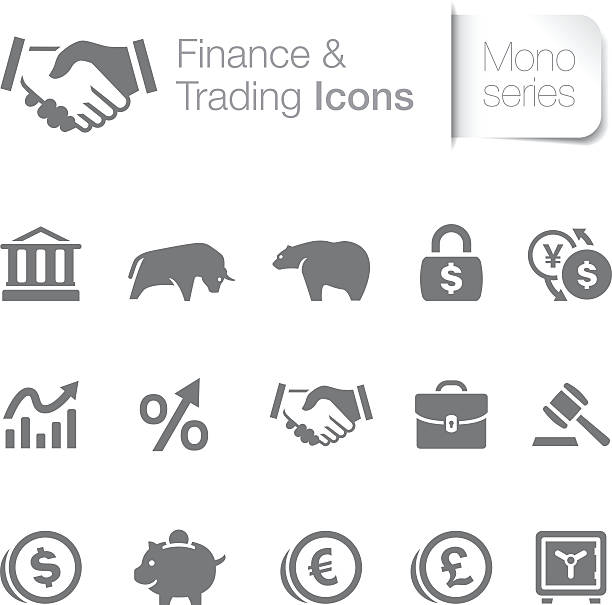 stockillustraties, clipart, cartoons en iconen met set of fifteen gray finance and trading icons - bearmarkt