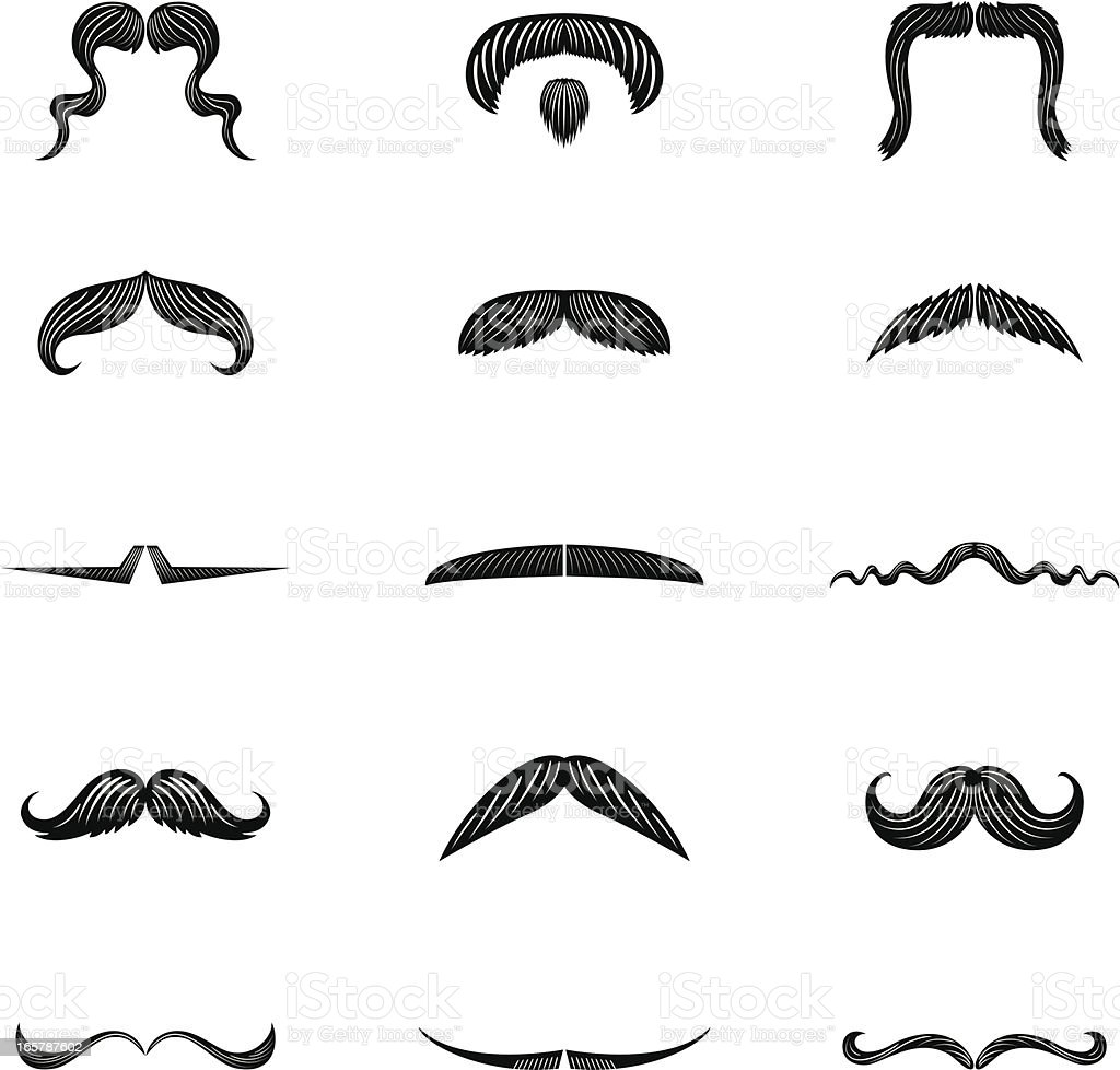 Set of Fifteen Men's Moustache Illustration Icons in flat colors vector art illustration