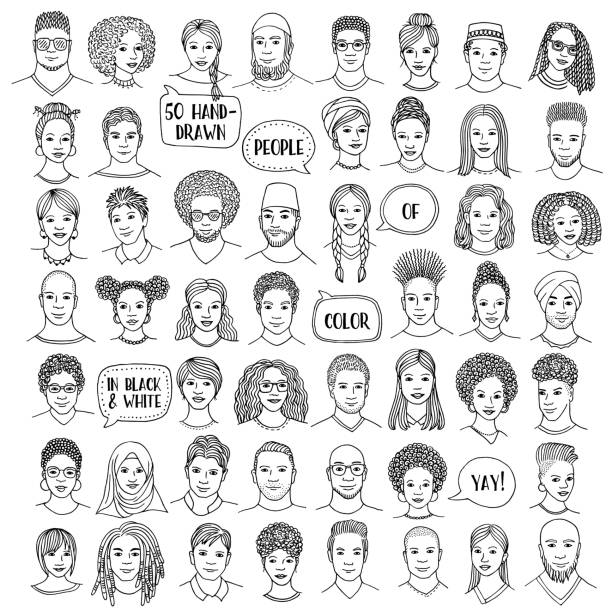 Set of fifty hand drawn diverse faces, people of color vector art illustration