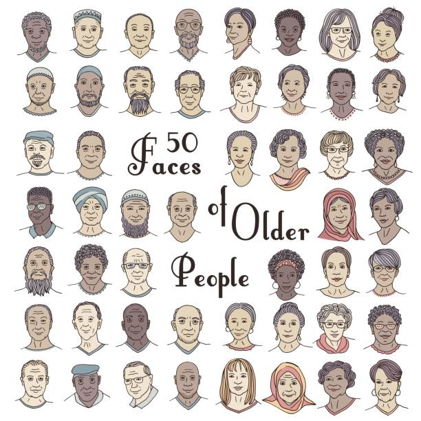 Set of fifty hand drawn faces of older people vector art illustration