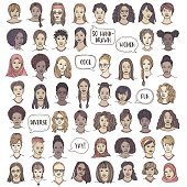Set of fifty hand drawn female faces, colorful and diverse portraits of women of different ethnicities