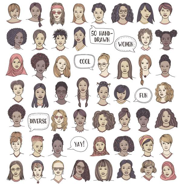 set of fifty hand drawn female faces - head and shoulders stock illustrations, clip art, cartoons, & icons