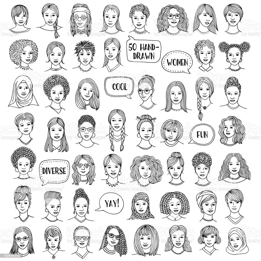 Set of fifty hand drawn female faces vector art illustration