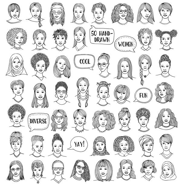 Set of fifty hand drawn female faces Set of fifty hand drawn female faces, diverse portraits of women of different ethnicities, black and white ink illustration hair stock illustrations