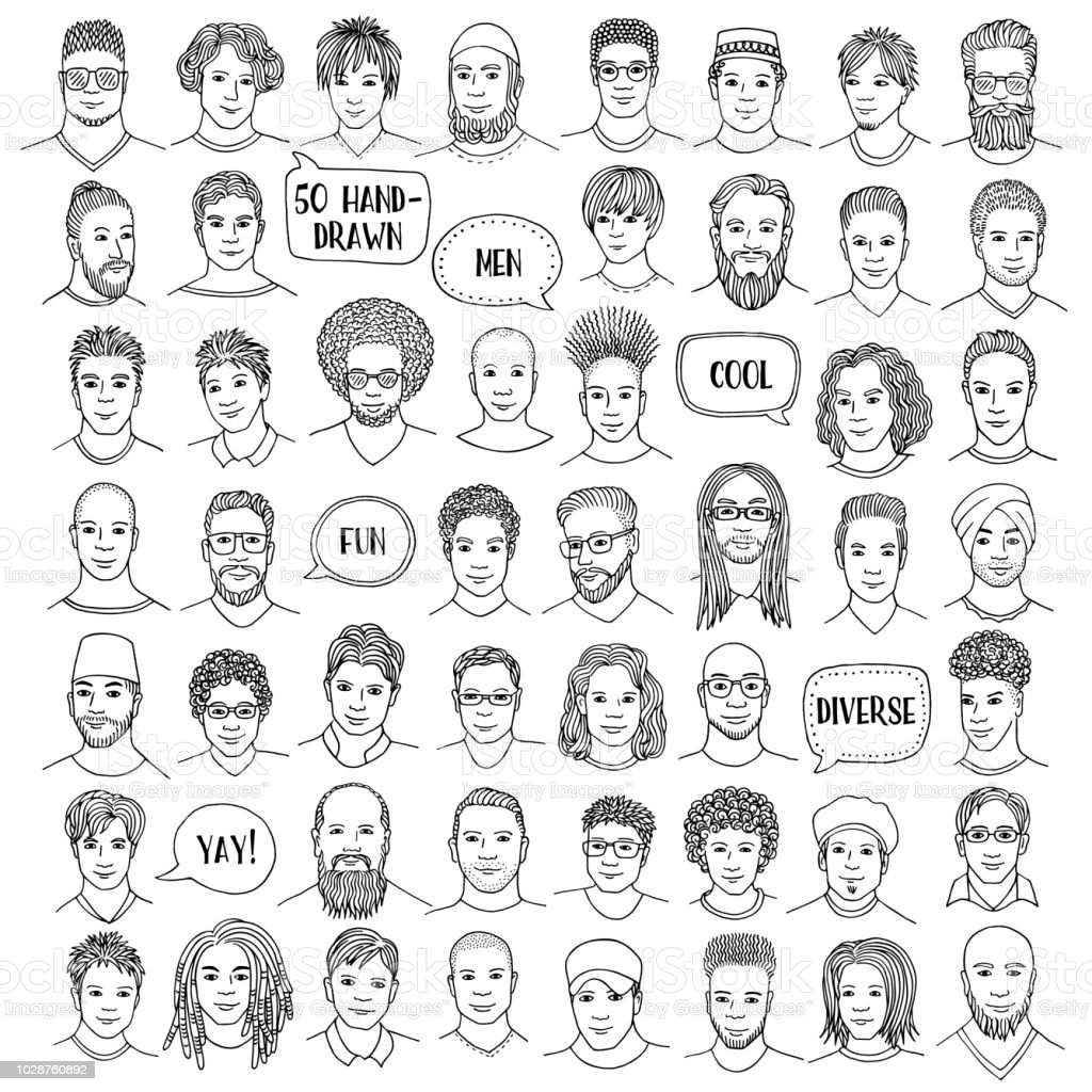 Set of fifty hand drawn male faces vector art illustration