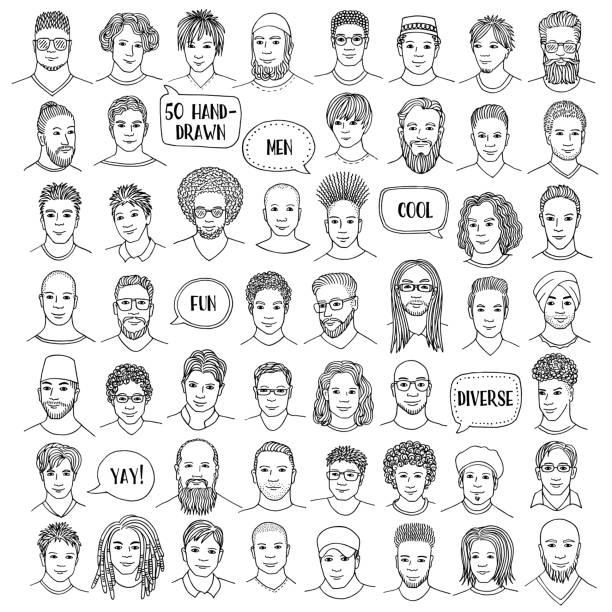 illustrazioni stock, clip art, cartoni animati e icone di tendenza di set di cinquanta facce maschili disegnate a mano - man portrait