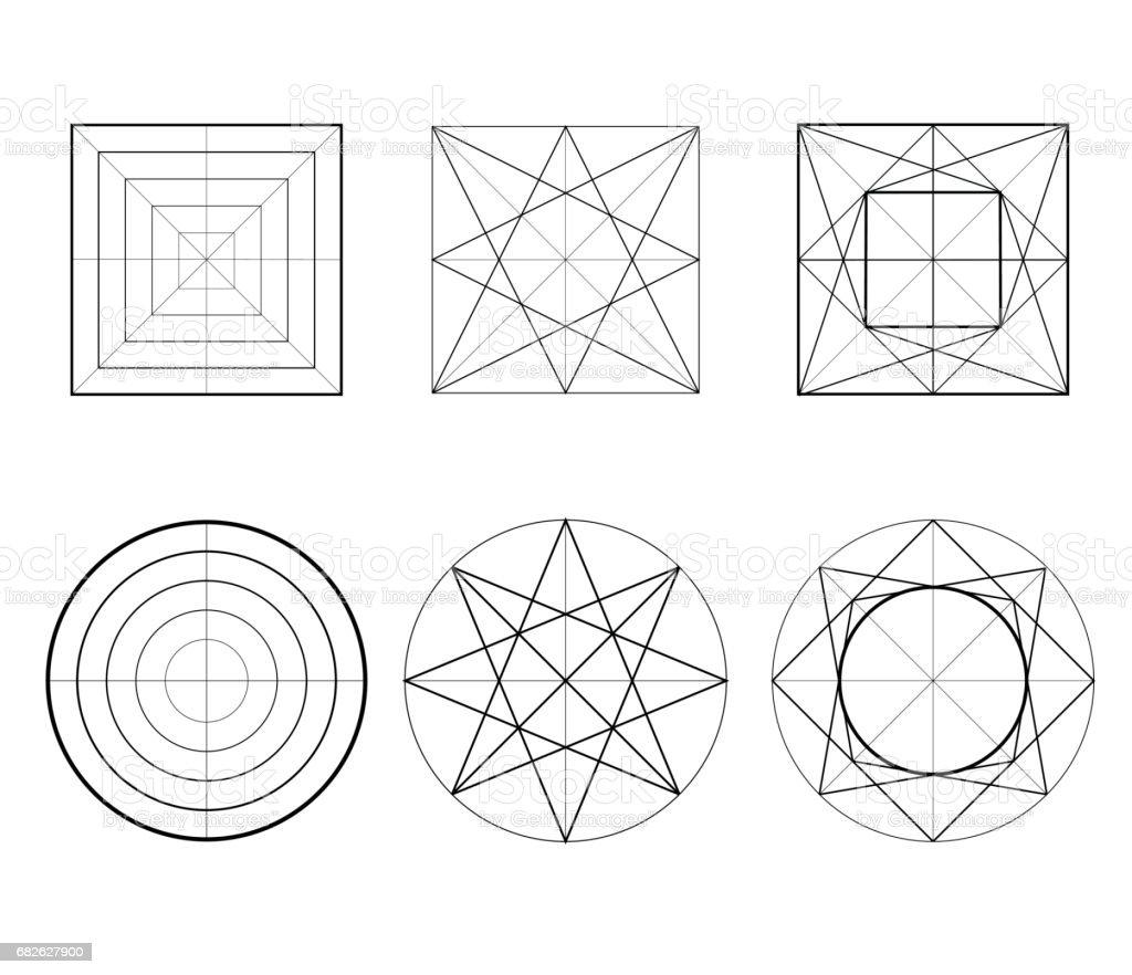 Set of figures line art vector art illustration