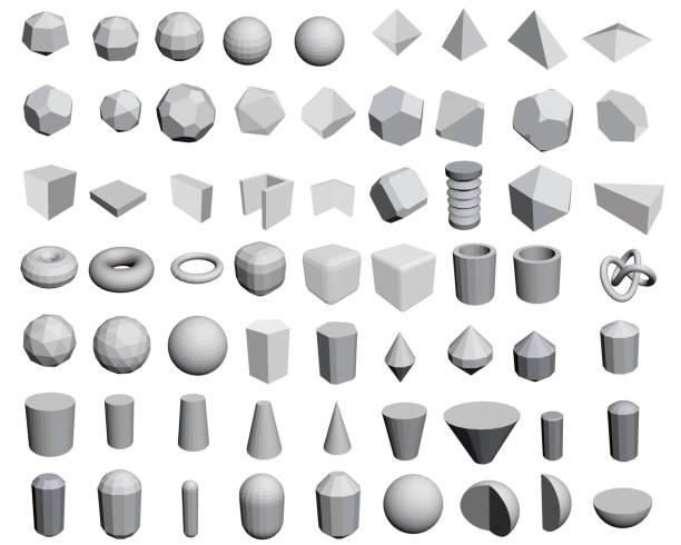 ilustrações de stock, clip art, desenhos animados e ícones de set of figures - cilindro formas geométricas