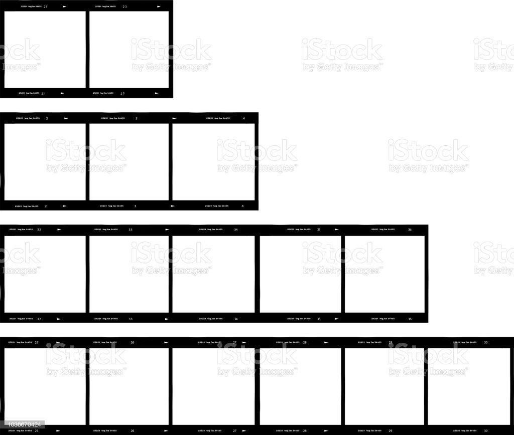 Reihe von Film-Streifen, Mittelformat, Bilderrahmen – Vektorgrafik
