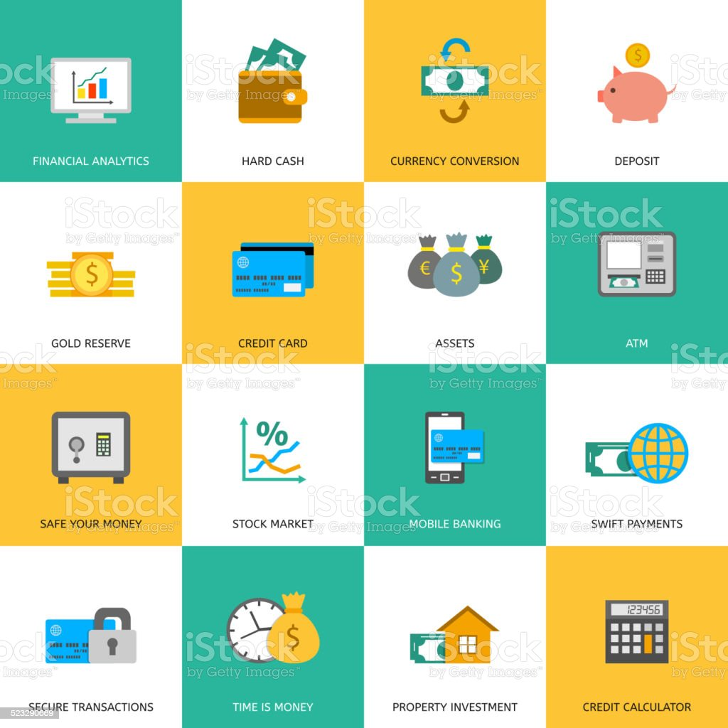 Set of finance and money icons. vector art illustration