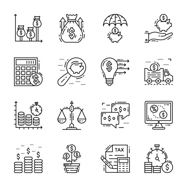Set Of Finance And Tax Icons vector art illustration