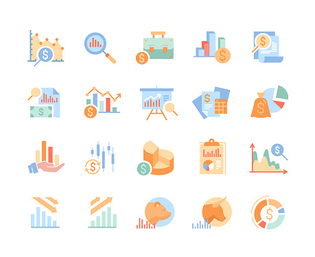 Set of financial analytics related vector line icons