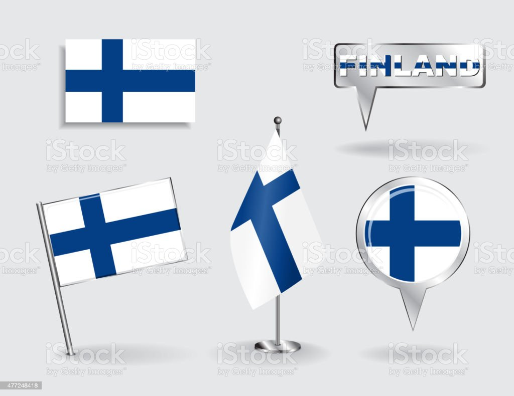 Set of Finnish pin, icon and map pointer flags. Vector vector art illustration