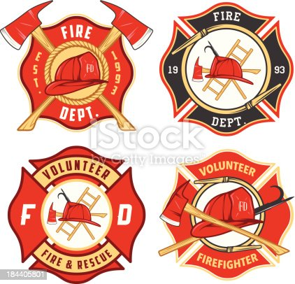 Set of fire department emblems and badges.
