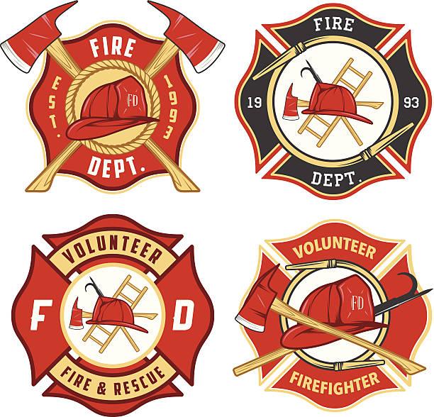 zestaw straż pożarna symbolizujące i identyfikatory - insygnia stock illustrations