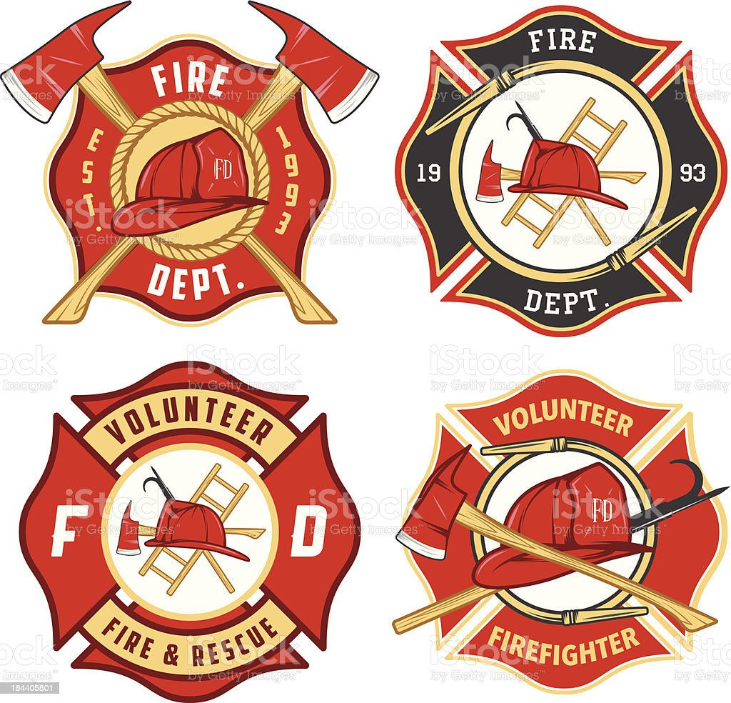 Set of fire department emblems and badges vector art illustration