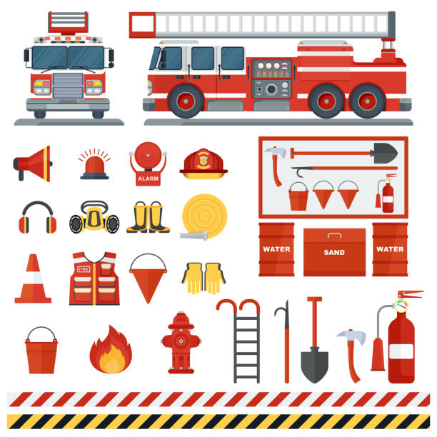 Set of fire equipmen Set of fire equipment. Vector fire man tools . Flat cartoon fire equipment objects isolated on white background. Fire safety objects. fire station stock illustrations