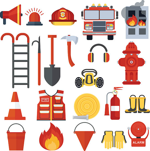 set of fire equipment Set of fire equipment. Vector . Flat cartoon illustration. Objects isolated on a white background. fire engine stock illustrations