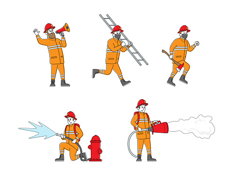 Set of Fire Fighters Male Characters in Uniform Holding Ladder, Spraying Water from Hose. Group of Firemen Working