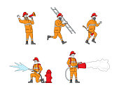 istock Set of Fire Fighters Male Characters in Uniform Holding Ladder, Spraying Water from Hose. Group of Firemen Working 1277391154