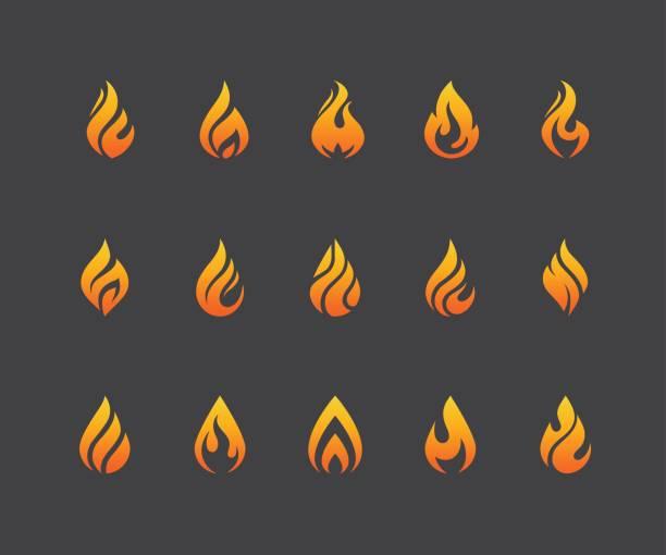 ilustraciones, imágenes clip art, dibujos animados e iconos de stock de conjunto de iconos de llama de fuego aislado sobre fondo negro. - gas