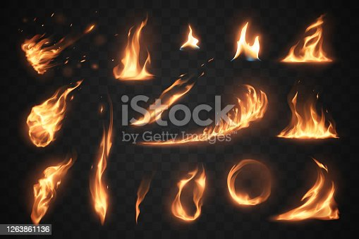 Set of fire flames elements on transparent background in vector