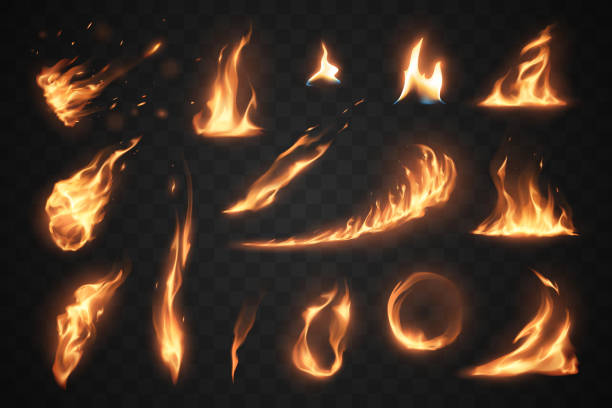 Set of fire flames elements on transparent background Set of fire flames elements on transparent background in vector flame stock illustrations