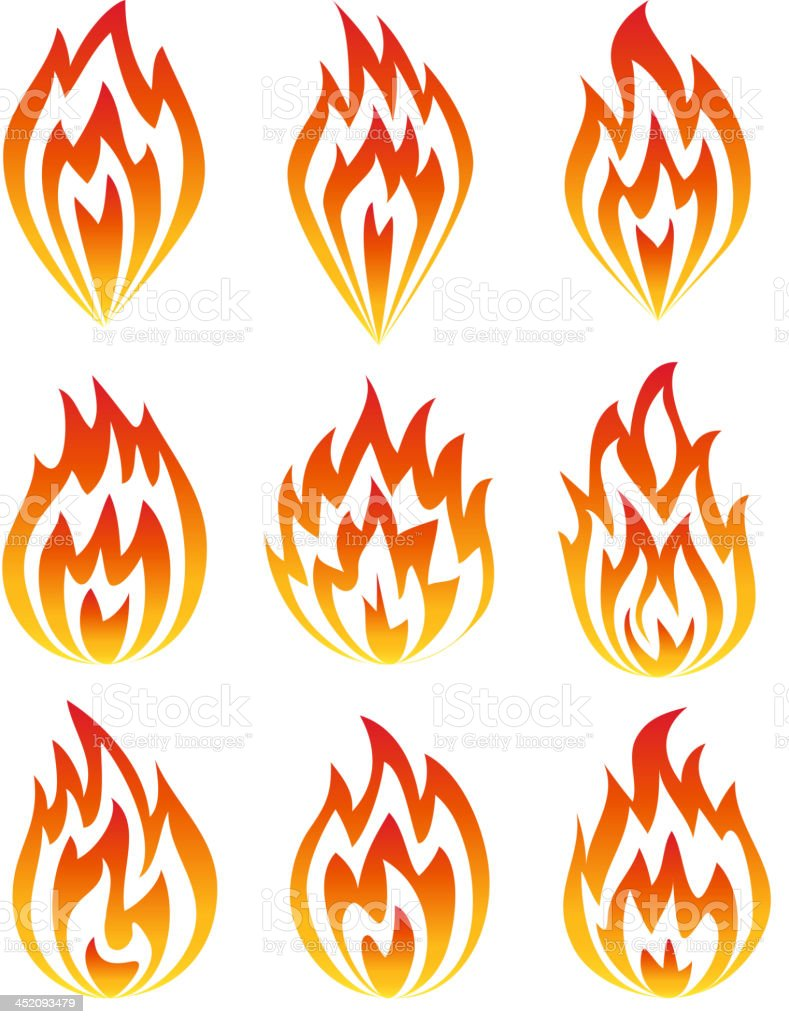 Set of fire icons. royalty-free stock vector art