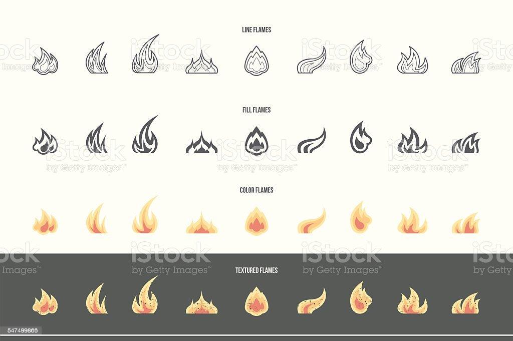 Conjunto de ícones de incêndio - ilustração de arte em vetor