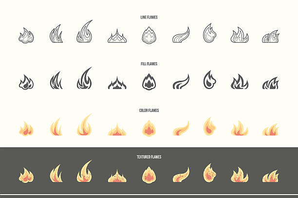set of fire icons - fire tattoos stock illustrations, clip art, cartoons, & icons
