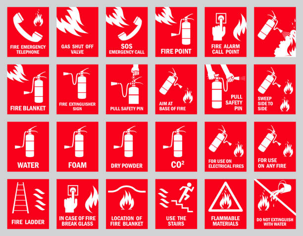 Set of fire safety signs. Collection of warning signs. Vector illustration. Signs of danger. Signs of alerts. Fire icons. fire hose stock illustrations