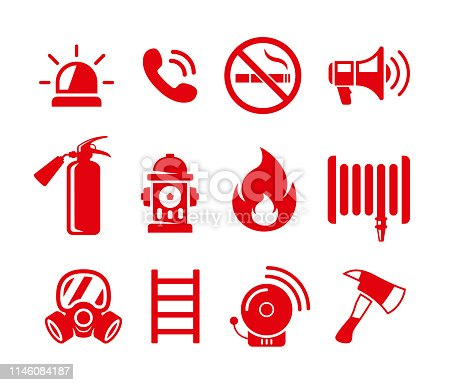 Set of fire safety vector icons. Fire emergency icons isolated on white background