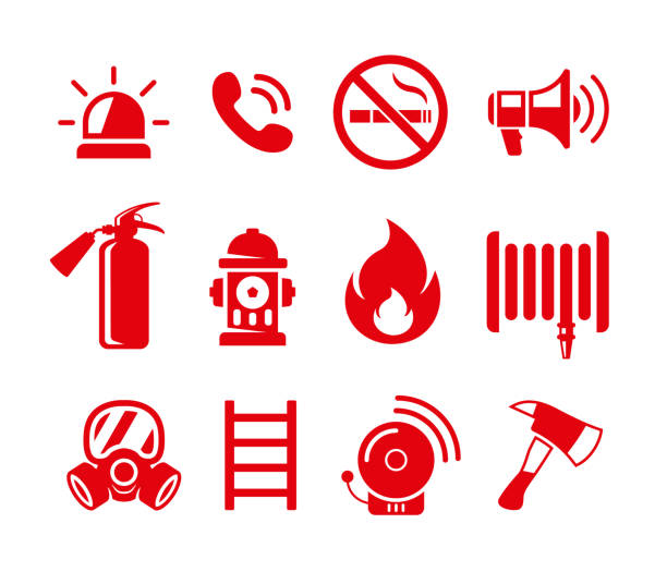 Set of fire safety vector icons. Fire emergency icons set Set of fire safety vector icons. Fire emergency icons isolated on white background fire hose stock illustrations