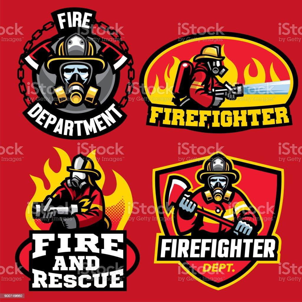 消防バッジ デザインのセット ベクターアートイラスト