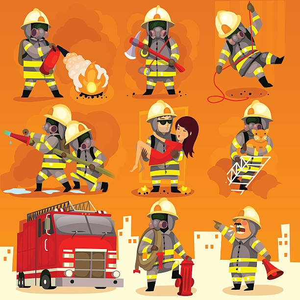 Set of fireman at work Set of cartoon fireman doing their job and saving people. EPS 10 fire hose stock illustrations