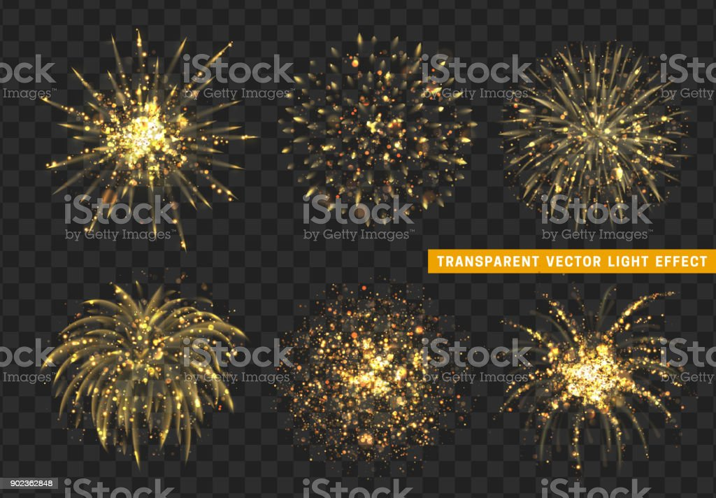 Set of Firework gold isolated. Xmas decoration. Holiday design element. Set of Firework gold isolated. Xmas decoration. Holiday design element. Bright realistic golden firework with transparent background effect. Abstract stock vector