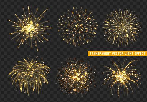 Set Of Firework Gold Isolated Xmas Decoration Holiday Design Element Stock Illustration - Download Image Now