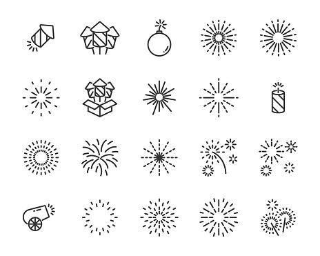 set of firework  icons, happy new year, bomb, celebration