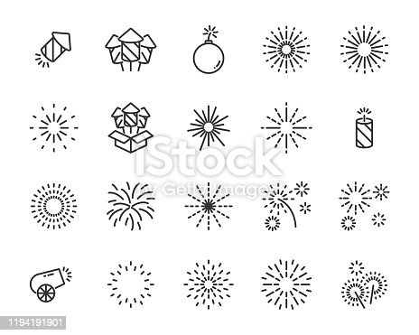 set of firework  icons, happy new year, bomb, celebration
