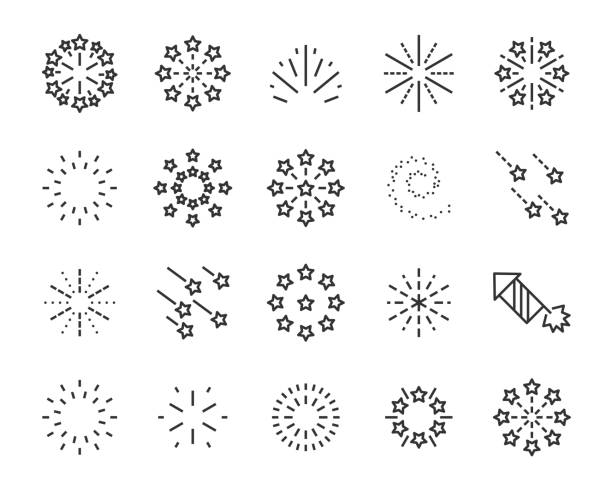 set of firework icons, such as sparkle, party, star - spark stock illustrations