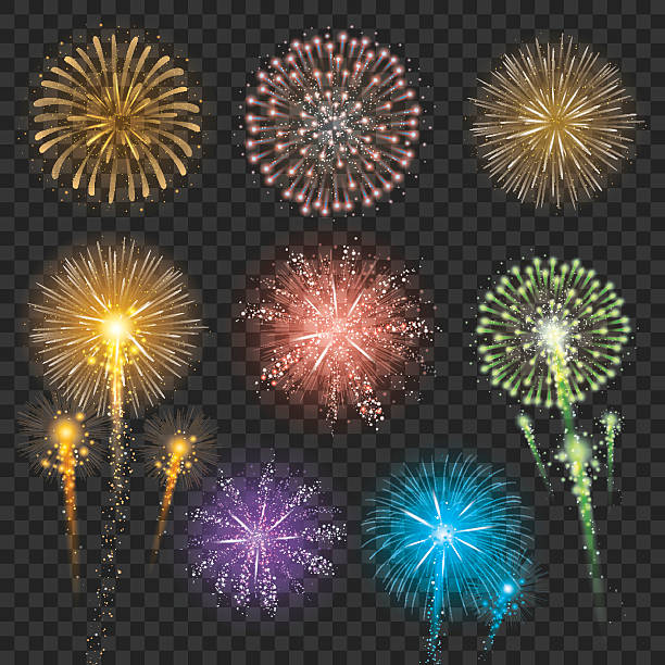 Set of Firework Illustrations Vector illustration of fireworks in different shapes and colors. fireworks stock illustrations