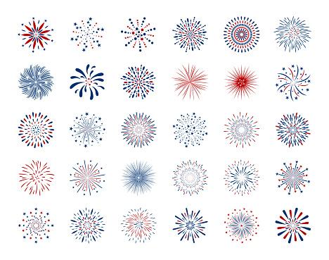 Set Of Fireworks Design On White Background Vector Illustration Stock Illustration - Download Image Now