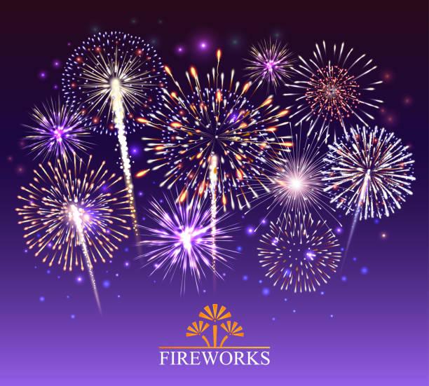 Set of fireworks, festive banner, invitation to a holiday. Vector illustration Set of fireworks, festive banner, invitation to a holiday. Vector illustration pyrotechnic effects stock illustrations