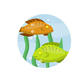 istock Set of fish. River animal with scales, fins and tail. Underwater life. Water with algae. Wildlife icon in circle. Element of fishing. Cartoon flat illustration 1321626233